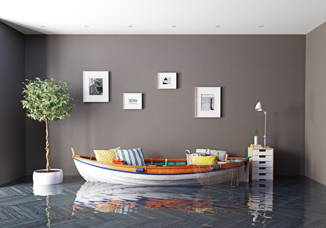 Flooded living room with a boat replacing the couch